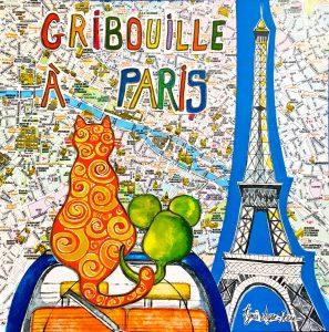 GRIBOUILLE le chat accompagné de Gipsy la souris visitent Paris. Du métro parisien à la Tour Eiffel en passant par l'Arc de Triomphe, Montmartre...